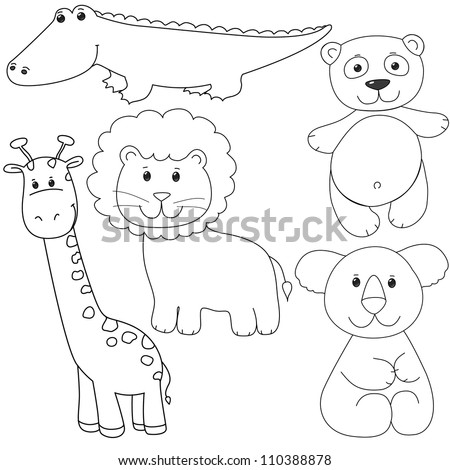 set of animals contour, isolated