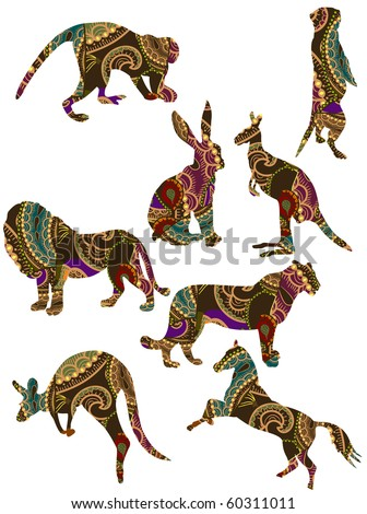 set of animals in the ethnic style with a white background - stock vector