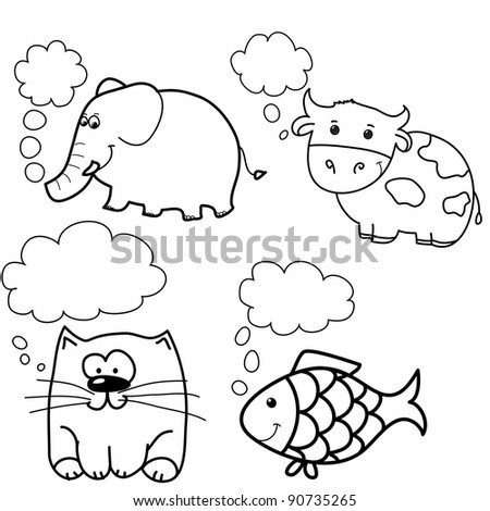 set of animals, like fish, cow, cat, elephant with speech bubble, cartoon, line art, coloring - stock vector