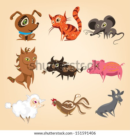 set of animals living on the farm - stock vector