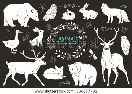 Set of animals silhouettes. Vector monochrome sketch.  - stock vector