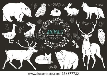 Set of animals silhouettes. Vector monochrome sketch. Hare, bear, fox, owl, deer, goose, dragonfly, hedgehog. stock vector  - stock vector