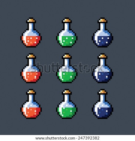 Set of animated potion bottles phial vial, pixel art style, vector isolated