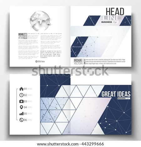 Set of annual report business templates for brochure, magazine, flyer or booklet. Polygonal backdrop with connecting dots and lines, connection structure, blue background. Digital or science vector - stock vector