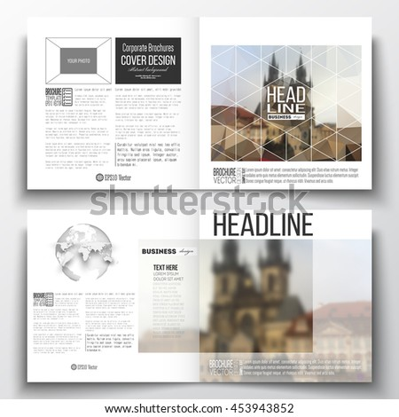 Set of annual report business templates for brochure, magazine, flyer or booklet. Polygonal background, blurred image, urban landscape, cityscape of Prague, modern triangular texture. - stock vector