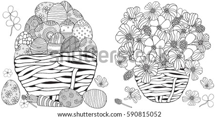 Set Anti Stress Coloring Book Pages Stock Vector - Spring basket coloring page