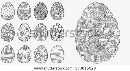 Set Of Anti Stress Coloring Book Pages For Adult Easter Eggs Zentangle And Doodle