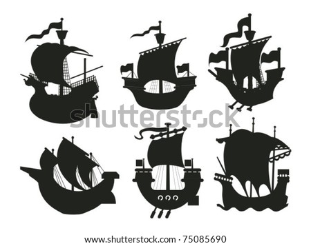 Set of antique and medieval ship silhouettes - stock vector