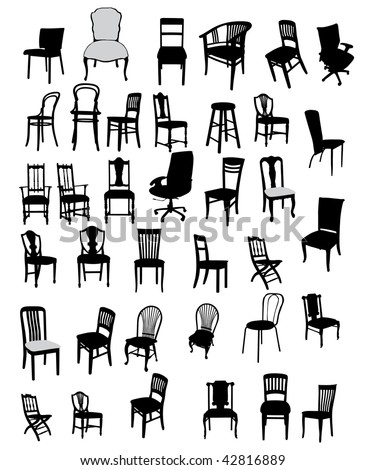 set of antique and modern furniture vector illustration - stock vector
