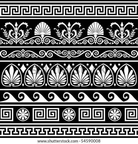 Set of antique greek borders on black - stock vector