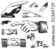 set of antique hands engravings, scalable and editable vector illustrations - stock vector