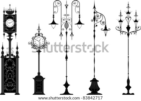 Set of antique ornate streetlights and street clocks in black - change the color is one click of the mouse, hands you can set how you want