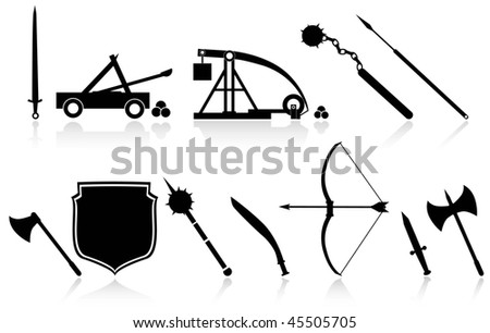 set of antique weapons - stock vector