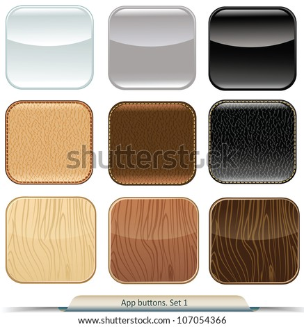 Set of app buttons with glossy, wood, and leather texture - stock vector