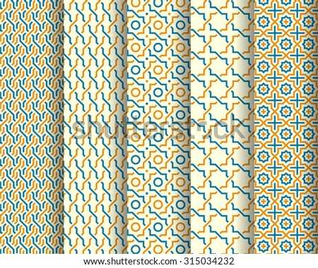 Set of Arabic patterns. Abstract background. Vector illustration - stock vector