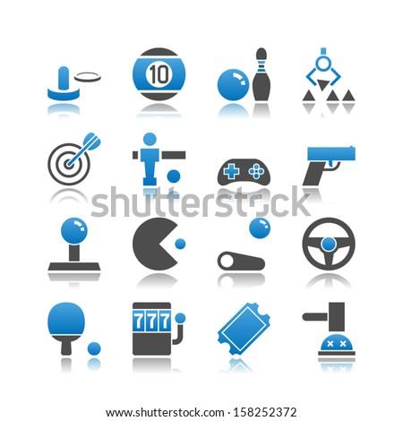 Set of 16 Arcade simple vector icons, including Air Hockey, Billiards, Bowling, Claw Machine, Darts, Foosball, Gamepad, Gun, Joystick, Pinball, Racing Game, Ping Pong, Slot Machine, etc. - stock vector