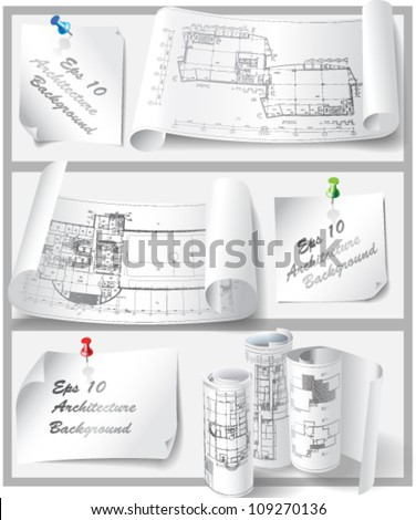 Set of Architectural Design Elements. Isolated on white background, vector clip-art - stock vector