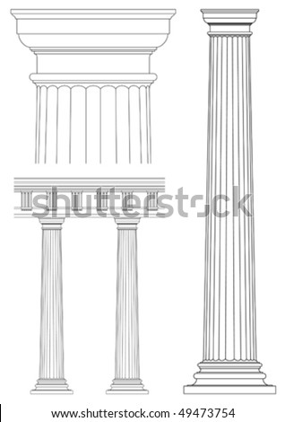 set of architecture detail , vector classic column
