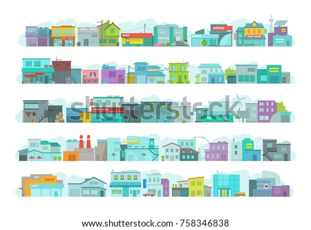 Set of architecture town buildings. City long street. Flat stock vector graphics. A lot of various details