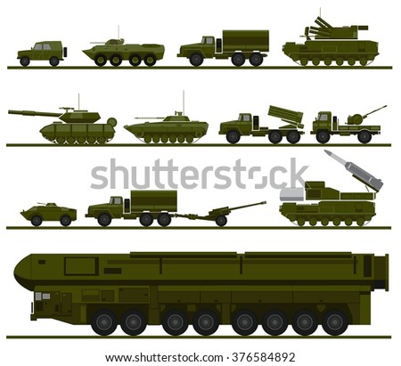 set of armed forces units. vector illustration of military vehicles