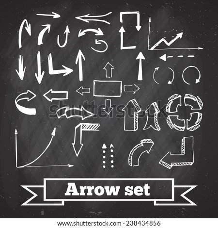 Set of arrow on black chalkboard. Vector, EPS 10 - stock vector