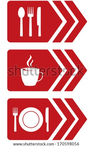 set of arrow with red food signs and utensil - stock vector
