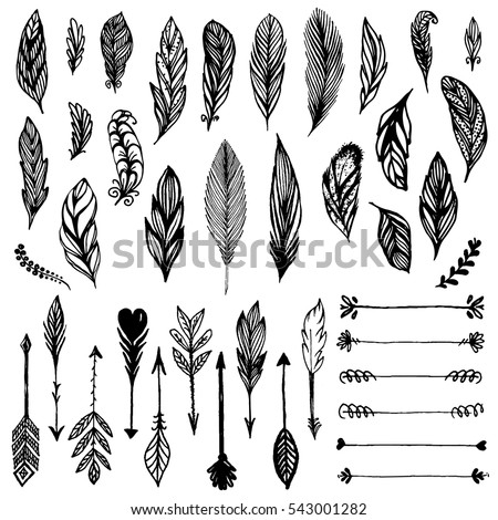 set arrows feathers native american indian stock vector royalty