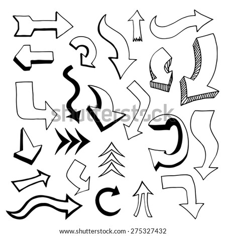 Set of Arrows and Lines. Vector illustration - stock vector