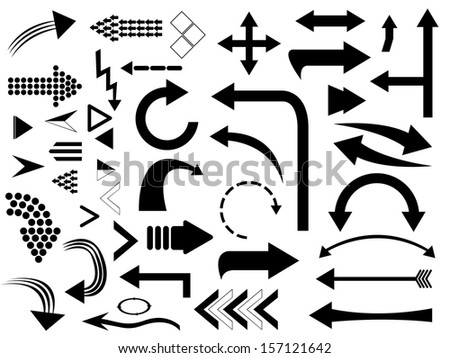 Set of arrows illustrated on white - stock vector