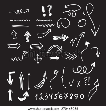 Set of arrows, numbers and signs. - stock vector