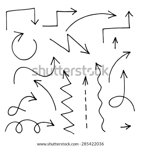 Set of arrows painted marker. Vector hand-drawn. - stock vector