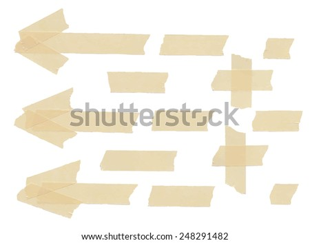 Set of arrows, plus, cross and different size adhesive tape pieces. Vector illustration - stock vector