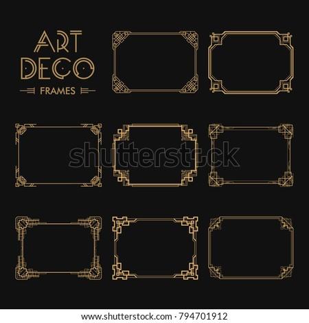 Set Art Deco Borders Frames Creative Stock Vector HD (Royalty Free ...