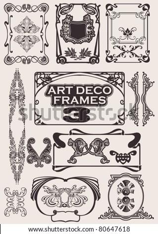 Set Of Art Deco Frames. - stock vector