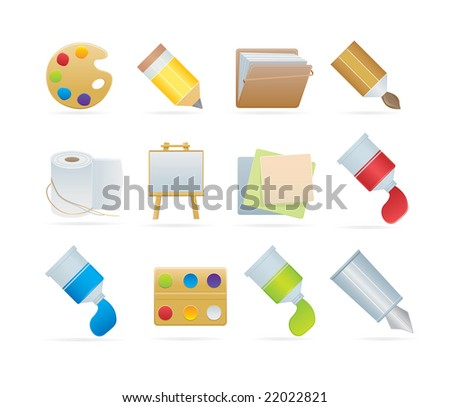 set of art icons - stock vector