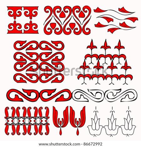 set of art nouveau ornaments - stock vector