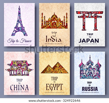 set of art ornamental travel and architecture on ethnic floral style flyers. Vector decorative banner of card or invitation design. Historical monuments of France, India, Japan, China, Egypt, Russia.  - stock vector