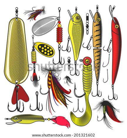 Set of Artificial fishing lures.  Vector illustration, isolated, grouped, transparent background - stock vector
