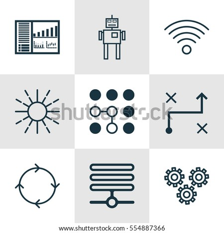 Set Of 9 Artificial Intelligence Icons. Includes Cyborg, Recurring Program, Lightness Mode And Other Symbols. Beautiful Design Elements.