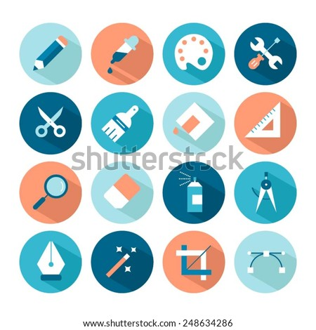 set of artistic and design tools icons, vector illustration - stock vector