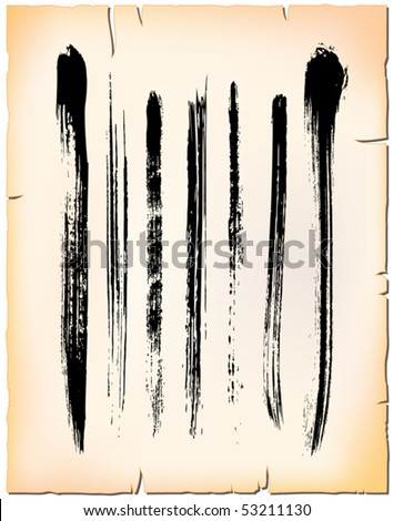 Set of artistic brush strokes on old paper sheet - stock vector