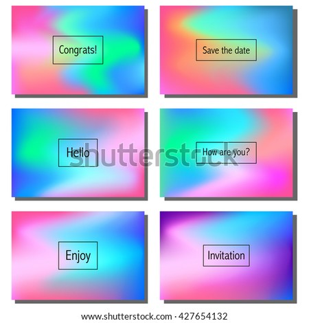 Set of artistic colorful universal cards. Wedding, anniversary, birthday, holiday, party. Design for poster, card, invitation. - stock vector