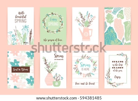 set artistic creative spring cards hand stock vector royalty free