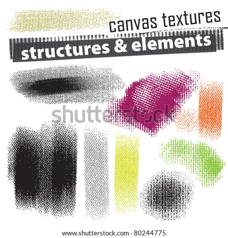 Set of artistic natural media grunge elements - canvas texture - stock vector