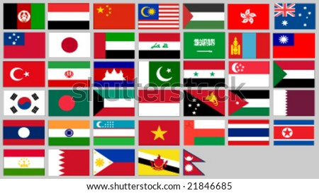 set of asia, australia and ozeania flags vector illustration - stock vector