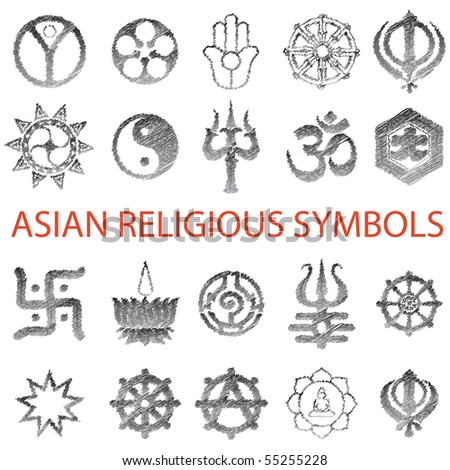 Set of Asian symbols Vector pencil scribble - stock vector