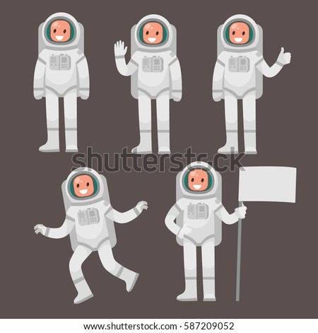 Set  of astronaut character in different poses on an isolated background. Vector illustration in a flat style