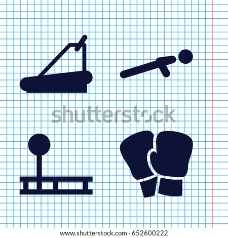 Set of 4 athletic filled icons such as treadmill, push up, fintess equipment