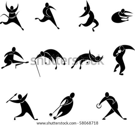 set of athletics icon includes Running, Long jump, Triple jump, High jump, Pole vault,  Shot put,  Discus throw, Hammer throw,  Javelin throw,  Hurdles. EPS8 - stock vector