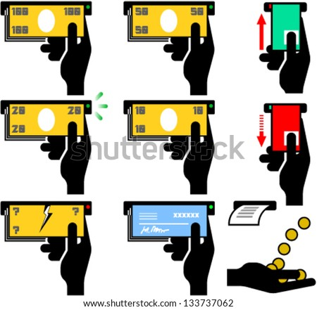 Set of ATM pictographs and symbols - stock vector